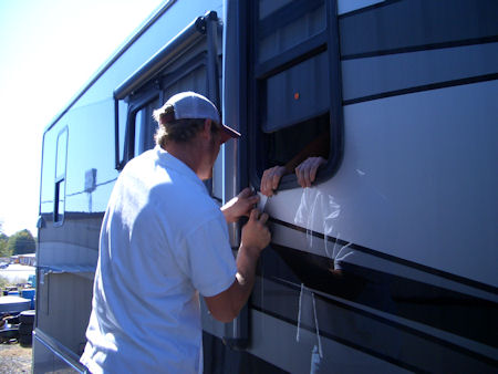 removing window frame from RV for repair